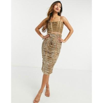 エイソス ASOS DESIGN レディース ワンピース ミドル丈 ワンピース・ドレス Premium Ruched Velvet Midi Dress サンド