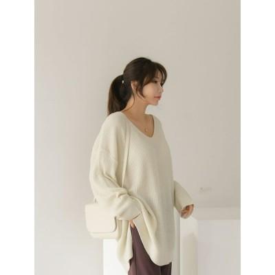 ニット 長袖 レディース トップス ゆったり 大きいサイズ tシャツ 長そで ロングニット 秋 冬 韓国 ロンt きれい目 おしゃれ かわいい