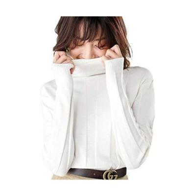 タートルセーター レディース ニットセーター ハイネック ゆったり 柔らかい タートルネック リブニット トップス 着痩せ (ホワイト L)