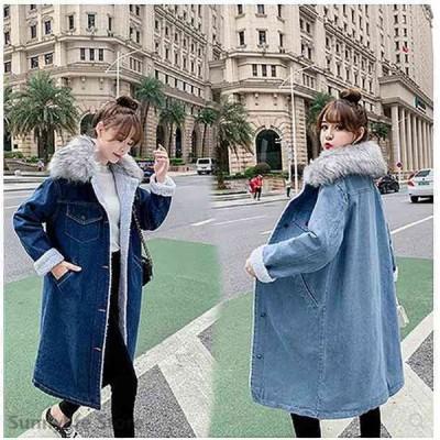 大きいサイズ レディース ファッション コート アウター ぽっちゃり おおきいサイズ あり Gジャン ジージャン ファー取り外し可 裏起毛ボア S M