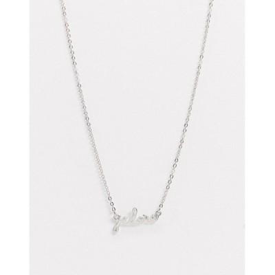エイソス レディース ネックレス・チョーカー・ペンダントトップ アクセサリー ASOS DESIGN necklace with j'adore pendant in silver tone Rhodium