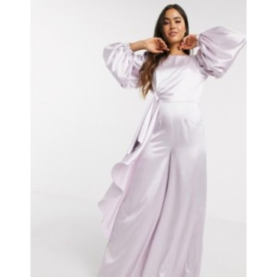 エイソス レディース ワンピース トップス ASOS DESIGN knot drape satin jumpsuit with wide leg in lilac Dusty lilac