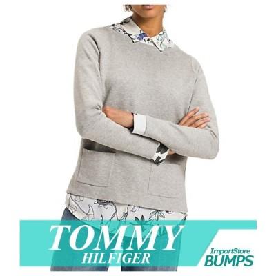 トミーヒルフィガー セーター ニット レディース ボーダーストライプ スクエアネック ロゴ XS〜XL トップス 新作 TOMMY