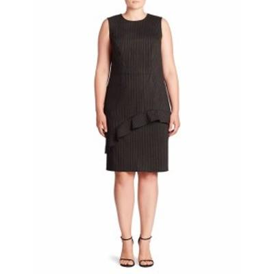 ABS プラスサイズ レディース ワンピース Ruffle Pinstripe Sheath Dress
