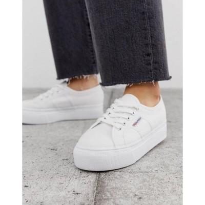 スペルガ レディース スニーカー シューズ Superga 2790 white flatform 4cm sneakers White