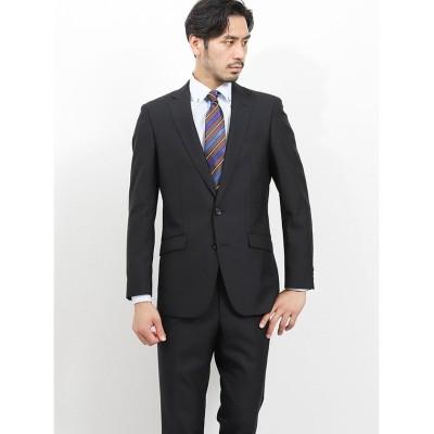 【タカキュー】 洗えるスラックス スリムフィット2ピーススーツ ストライプ黒 メンズ ブラック A5 TAKA-Q