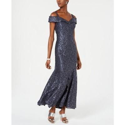 アールアンドエムリチャーズ ワンピース トップス レディース Off-The-Shoulder Petite Lace Gown Steel