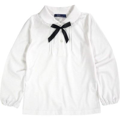 子供服 女の子 キッズ ブラウス リボン付き 長袖 白 1114 天竺ニット 綿100% 通年 100 110 120 130 フォーマル 制服 慶弔
