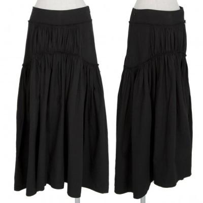 ワイズY's ギャザー切替フレアスカート 黒2 【レディース】