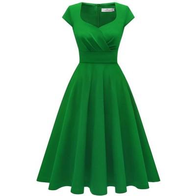 Homrain パーティードレス 黄色 ドレス 50年代 ワンピース スイングワンピース カップ袖 Aライン フォーマル
