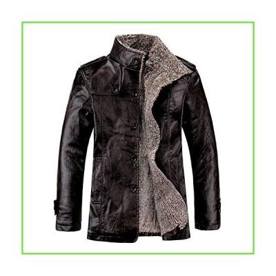 Men Fleece Lined Jacket Warm Sherpa Winter Botton Down Borg Collar Coat with Fur Fashion Denim Trucker Outwear (Black,XX-Large)【並行輸