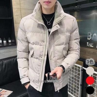 中綿ジャケットメンズ大きいサイズ20代30代冬ブラックカーキ赤ジャケットスタンドカラー防寒保温ダウンジャケット