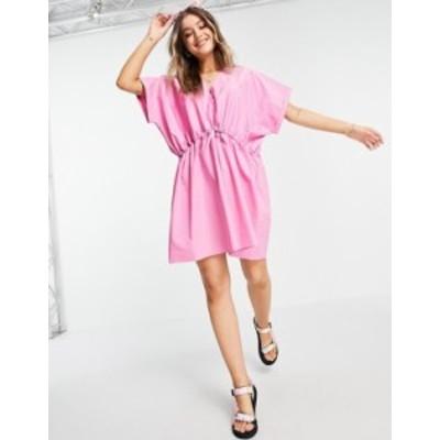 エイソス レディース ワンピース トップス ASOS DESIGN cotton mini smock dress with gathered waist in pink Pink