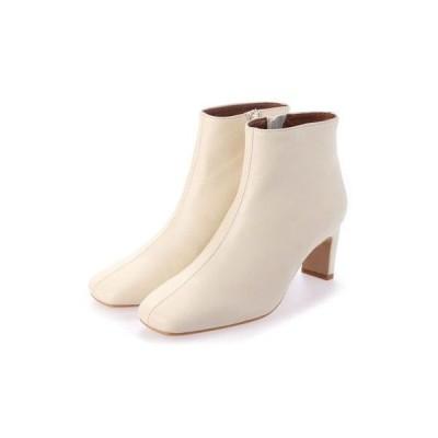 ヌエール nouer ROKOTA スクエアトゥワイドヒールブーツ(White) (オフホワイト)