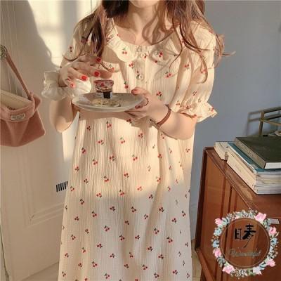 ネグリジェ 夏 半袖 ワンピース パジャマ 綿 可愛い ロング丈 オシャレ 花柄 ゆったり ナイトロープ レディース 部屋着 寝巻き ルームウェア