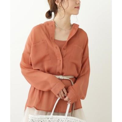 フレームスレイカズン frames RAY CASSIN BST シフォン楊柳バンドカラーシャツ (オレンジ)