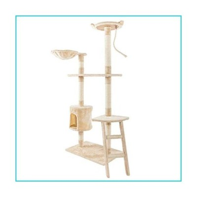 glueckind 60'' Multi-Level Cat Tree, Cat Activity Tree with Scratching Posts, King Cat Condo with Cozy Perches, Stable Cat Tower Pet Play Ho
