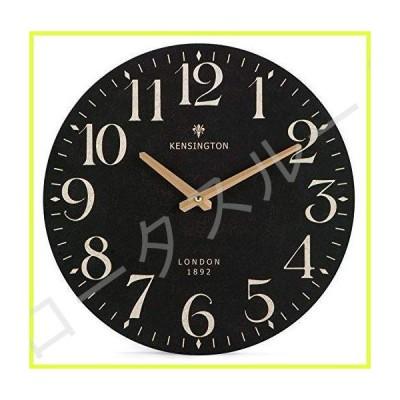 Nikky Home France Retro Style Silent Quartz Analogue Round Wall Clock, 30cm Black 並行輸入品