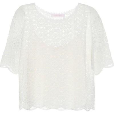 クロエ See By Chloe レディース トップス Lace-trimmed cotton-blend top Iconic Milk