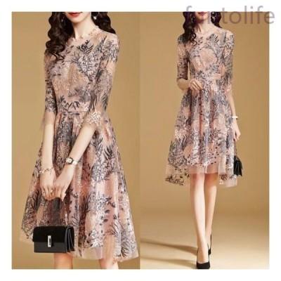 ワンピースドレス膝丈花柄フラワー刺繍袖あり清楚上品フェミニン大きいサイズ韓国五分袖パーティードレス20代30代40代