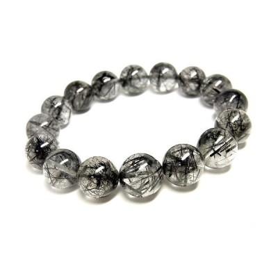 パワーストーン 天然石 ブレスレット ブラックルチルクォーツ 黒針水晶 14〜15mm Felistone