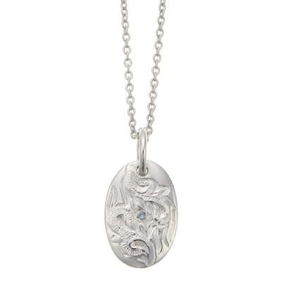 ネックレス ハワジュ シルバー925製 ブルーダイヤモンド マイレ スクロール プレート 彫刻 メンズ