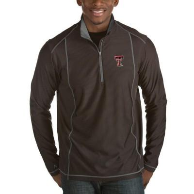 """メンズ ジャケット """"Texas Tech Red Raiders"""" Antigua Tempo 1/2-Zip Desert Dry Pullover Jacket - Black"""