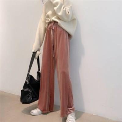 韓国 ファッション レディース ワイドパンツ イージーパンツ ベロア リラックス ウエストゴム ロング カジュアル 大人可愛い シンプル 秋