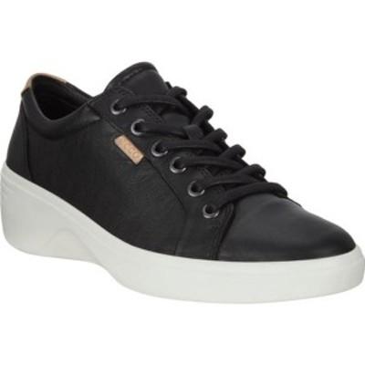 エコー レディース オックスフォード シューズ Soft 7 Cap Toe Wedge Sneaker Black Full Grain Leather