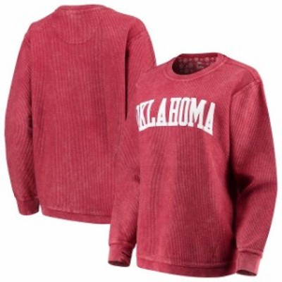 Pressbox プレス ボックス スポーツ用品  Pressbox Oklahoma Sooners Womens Crimson Comfy Cord Vintage Wash Basic Arch Pullover Swea