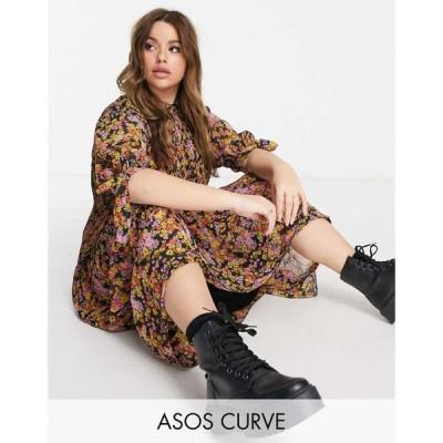 エイソス ASOS Curve レディース ワンピース ASOS DESIGN Curve pleated trapeze midi dress with tie sleeves in dark based floral print