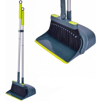 Jekayla ほうき ちりとり 立て式掃除セット 角度・長さ調節可能 回転式 99-137cm長柄 超軽量 櫛歯デザイン 自立式 コンパクト 収納簡