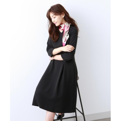 (AMACA/アマカ)【Sサイズ~】トリアセテートストレッチ ドレス/レディース ブラックネイビー