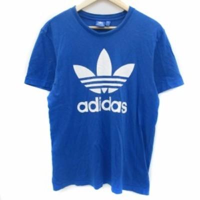 【中古】アディダスオリジナルス Tシャツ カットソー 半袖 クルーネック プリント ロゴ O 大きいサイズ 青 白 メンズ
