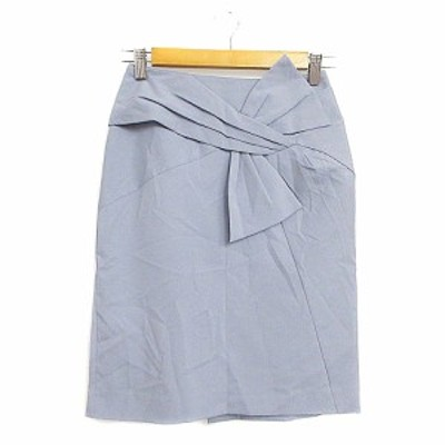 【中古】ジャスグリッティー JUSGLITTY スカート タイト ひざ丈 リボン 0 青 ブルー /AAM28 レディース