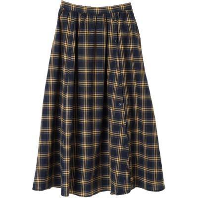 ・LHELBIE タータンチェックサイド釦スカート
