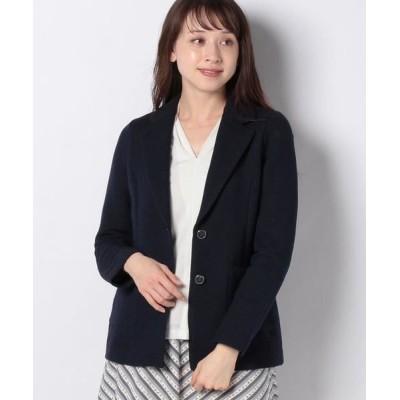 LAPINE BLANCHE/ラピーヌ ブランシュ インレイ編み テーラードジャケット ネイビー 40