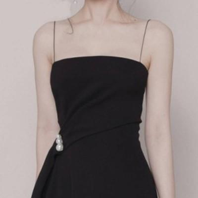 キャミソールドレス アシンメトリースカート パール ミモレ丈 ワンピース レディース フォーマル 結婚式 お呼ばれ ドレス 20代 30代 二次