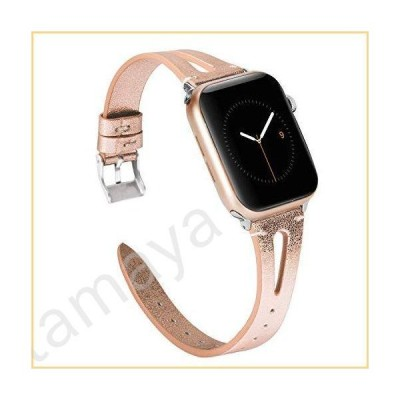 Wearlizer Rosegold Leather Compatible with Apple Watch Bands 38mm 40mm for iWatch SE Womens Mens Leather Strap Cool Triangle Hole Wristband