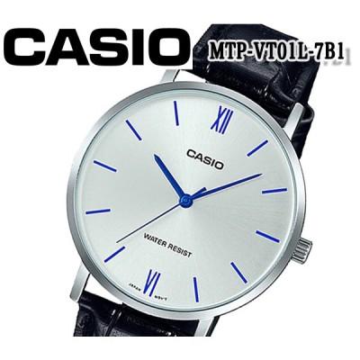 あすつく カシオ CASIO メンズ 腕時計 クオーツ ブラック MTP-VT01L-7B1 おすすめ カレンダー アナログ レザー ベルト プレゼント ビジネス