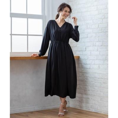 組曲 【PRIER】ボリュームスリーブVネックギャザーロング ドレス (ブラック系)