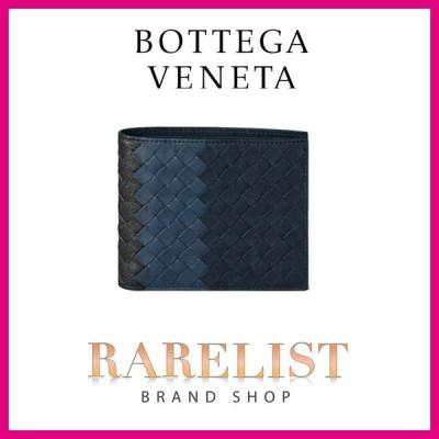 ボッテガヴェネタ BOTTEGA VENETA 財布 小財布 2つ折り 二つ折り ニューダークネイビー デニム アルドアーズ レザー 本革