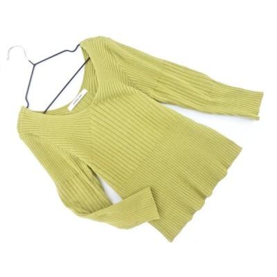 UNRELISH アンレリッシュ Vネック 5分袖 リブ ニット セーター sizeM/オリーブ ■◇ ☆ bbb9
