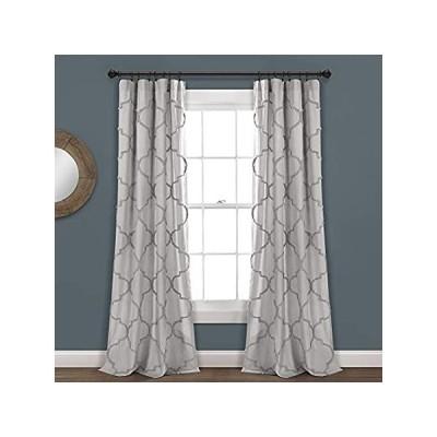Lush Decor ライトグレー Avon シェニール織格子柄ウィンドウカーテンパネル ペア (95インチ x 40インチ)