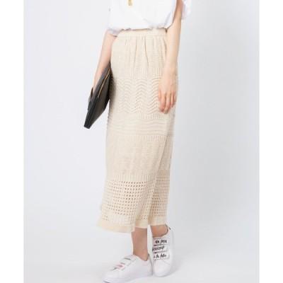 スカート リネン混透かし柄ニットスカート