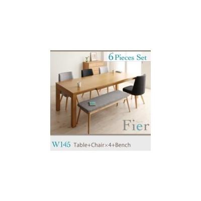 北欧デザインエクステンションダイニング 【Fier】フィーア/6点セット(テーブルW150+チェア×4+ベンチ) [B][00]