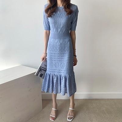 レディース ワンピース ニットワンピ サマーニット かわいい おしゃれ フェミニン 韓国ファッション