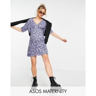 エイソス レディース ワンピース トップス ASOS DESIGN Maternity tea dress with horn buttons in dusty purple base floral Dusty purp