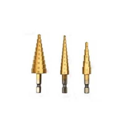 ステップドリル 3本セット チタンコーティング  六角軸(4〜20mm) 穴あけ バリ取り 拡大 収納ケース付き