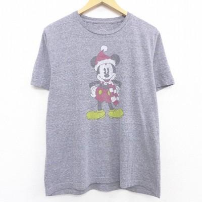 L/古着 半袖 Tシャツ ディズニー DISNEY ミッキー MICKEY MOUSE サンタクロース クルーネック グレー 霜降り 21may18 中古 メンズ
